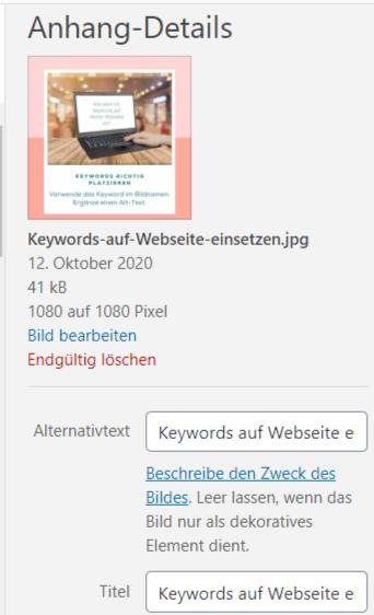 Erklärung Alttexte Keyword Einsatz auf Webseite